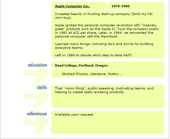Superior Now, Iu0027m Not Entirely Sure This Is His Real Resume, But Itu0027s Inspiring None  The Less. How Would Your Resume Read? Are You Willing To Tear Down Walls,  ... Throughout Steve Jobs Resume